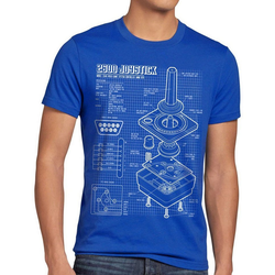 style3 Print-Shirt Herren T-Shirt 2600 VCS Computer 80er joystick classic gamer retro 2800 5200 c64 blau L