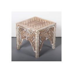 Casa Moro Beistelltisch Orientalischer Beistelltisch Firas 40x40x40 (B/T/H) weiß braun aus Massivholz Mango & MDF handgeschnitzt im Shabby Chic Stil, IBT30, Handmade