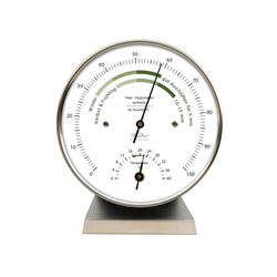 Fischer Barometer Wohnklima Thermo- Hygrometer, Edelstahlsockel Innenwetterstation