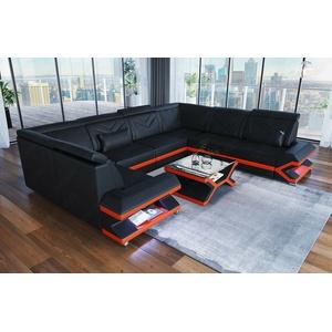 Ledersofa Wohnlandschaft Couch SORRENTO U Form Designer Schwarz Leder Sofa LED