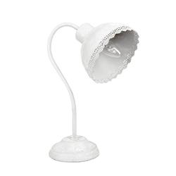 Grafelstein Tischleuchte Schreibtischlampe EMILIE weiß Metall shabby chic Landhaus Lampe Tischlampe E14
