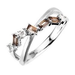 Ring Bergkristall 0,10ct Rauchquarz 0,25ct Schliffmix Silber 925