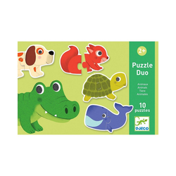 DJECO Steckpuzzle Steckpuzzle Duo Tiere, Puzzleteile