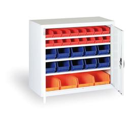 Schrank mit kunststoffboxen - 800 x 920 x 400 mm, 24xa/6xb/4xc,