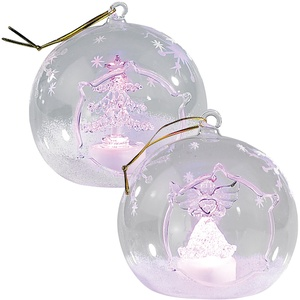 Mundgeblasene LED-Glas-Ornamente in Kugelform, 2er-Set