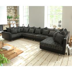 DELIFE Wohnlandschaft Clovis XL Schwarz mit Armlehne modular, Design Wohnlandschaften, Couch Loft, Modulsofa, modular