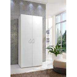 Kleiderschrank in weiß mit 2 Türen und 6 Einlegeböden, Maße: B/H/T ca. 80/185/40 cm