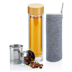 Intirilife Isolierflasche Intirilife Doppelwandige Thermo Flasche mit Sieb in 400 – 500 ml, Doppelwandige Thermo Flasche mit Sieb in 400 – 500 ml