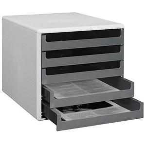 M&M Schubladenbox   dunkelgrau DIN A4 mit 5 Schubladen