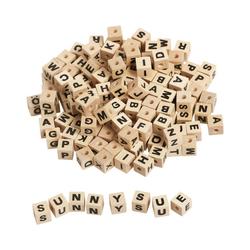 EDUPLAY Bastelperlen Buchstabenwürfel Holz zum Auffädeln, 300 Stück