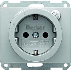 Berker SCHUKO-Steckdose alu m. FI-Schutzschalter 47087003