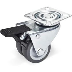 SO-TECH® Lenkrolle, SOTECH Lenkrolle mit Bremse (50 mm, Tragkraft 100 kg, Anschraubplatte: 60 x 60 mm) für Palettenmöbel oder als Transportrolle, Strandkorbrollen