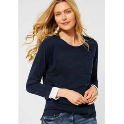 Cecil 3/4-Arm-Shirt mit kontrastfarbener Innennaht blau L (42)