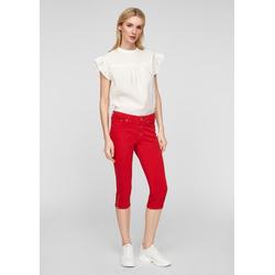 s.Oliver 7/8-Jeans Slim Fit: Jeans mit besticktem Bund Stickerei, Leder-Patch rot 40