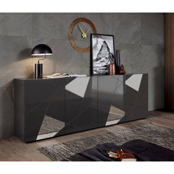 LC Sideboard Vittoria Sideboard, Breite 241 cm, Front mit Siebdruck und Spiegelforn grau