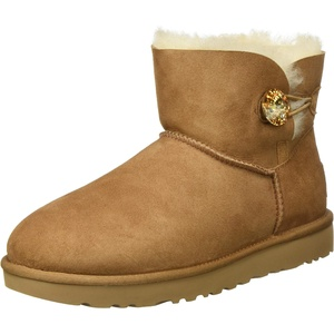 UGG Female Mini Bailey Button Bling Classic Boot, Chestnut/Gold, 9 (UK)