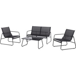 Garten Meny Lounge Loungeset schwarz Sitzgruppe Tisch Bank Stühle Sessel