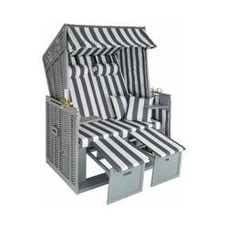 Tectake - Strandkorb mit Polster, verstellbar - Garten Strandkorb - grau/weiß