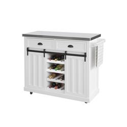 SoBuy Küchenwagen FKW94, Küchenschrank Kücheninsel mit Edelstahlplatte