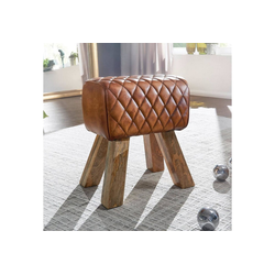 Lomadox Hocker, Holzhocker mit Leder-Bezug aus Echtleder Massivholz, braun B/H/T ca. 40/48/27cm