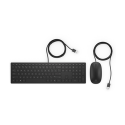HP Pavilion USB Tastatur und Maus 400 [leiser Tastendruck, optimierte Haptik, Full-Size-Tastatur]