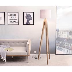 DELIFE Designer-vloerlamp Wyatt sheesham natuur driepoten stof grijs, Verlichting