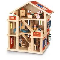 Roba Puppenhaus 3-stöckig inkl. Möbel und Puppen (29301)
