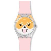 Swatch Damen Analog Schweizer Quarz Uhr mit Silicone Armband GE279