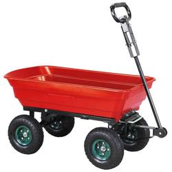 miweba Bollerwagen Dumper, Kippwagen Handwagen - Kippfunktion - Lenkachse - Luftreifen - 300 Kg Traglast rot