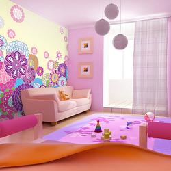 Fototapete Zuckersüße Blumenwiese mehrfarbig Gr. 400 x 309
