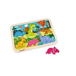Janod Puzzle Chunky Puzzle Dinosaurier 7 Teile (Holz), 7 Puzzleteile