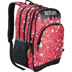 BESTLIFE Rucksack JUST rot/weiß mit Laptopfach bis 15,6 Zoll
