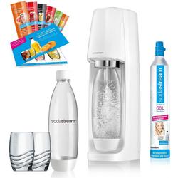 SodaStream Wassersprudler Easy, (Set, 12-tlg., 1 Wassersprudler, 1 CO2-Zylinder, 2 PET-Flaschen, 2 Gläser, 6 Sirupproben), Promopack weiß