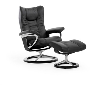 Stressless Ruhesessel Wing (M) in Paloma black mit Signature black Gestell