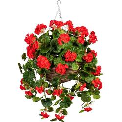 Künstliche Zimmerpflanze Volme Geranie, DELAVITA, Höhe 80 cm, im Weidekorb rot
