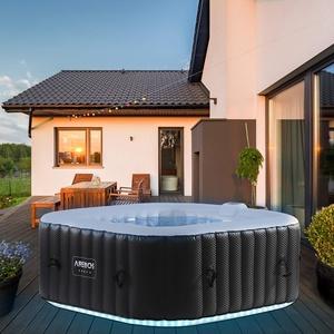 Arebos Whirlpool mit LED-Beleuchtung   6 Farben   aufblasbar   quadratisch   In- & Outdoor   4 Personen   100 Massagedüsen   mit Heizung   600 L Liter   Inkl. Abdeckung   Wellness & Massage