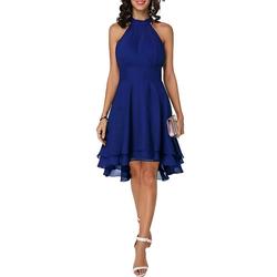 LAPA Partykleid Damen Chiffonrock Schulterfreies Kleid Sexy Elegantes Kleid blau 2XL(44)