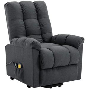 Tidyard Massagesessel mit Aufstehhilfe Heizung TV Sessel Fernsehsessel Relaxsessel Polstersessel Dunkelgrau Stoff 77 x 92 x 103 cm