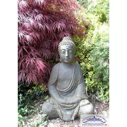 S101180 Buddha beim Gebet als Steinfigur aus massivem Beton Steinguss Buddafigur terrabraun oder hellgrau 49cm 28kg (Farbe: hellgrau)