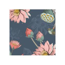 anna wand Bordüre Seerosen anthrazit - selbstklebend, geblümt, selbstklebend