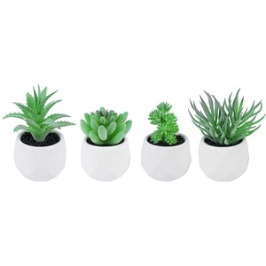 4 Stücke Künstliche Sukkulenten Pflanzen, künstlichen grünen Violett Gras Pflanzen im Topf für Innendekor Bürozimmer Schreibtischdekoration (green3)