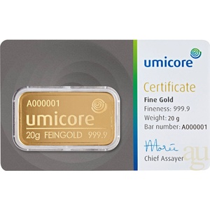 20 Gramm Goldbarren Umicore