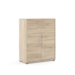 ebuy24 Regal, Mehrzweckregal Prisme Büro Aufbewahrung 2 Schubladen und 2 Türen. braun