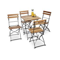 Chaise de jardin pliante lot de 4 en bois nature et métal sans accoudoir HxlxP: 84 x 42 x 44 cm,