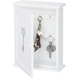 Relaxdays Schlüsselkasten Holz, Schlüssel-Aufdruck, Landhausstil, zum Aufhängen, Schrank HxBxT 29 x 22 x 8 cm, weiß