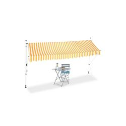 relaxdays Klemmmarkise Klemmmarkise gelb weiß 400 cm x 120 cm x 300 cm