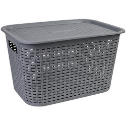 axentia Aufbewahrungskorb Korb aus Kunststoff, groß, mit Deckel grau