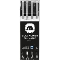 MOLOTOW 200487 Blackliner Set 2 Fineliner 4 St./Pack. Schwarz 0.3 mm, 0.5 mm, 0.7 mm, 1mm 4St.