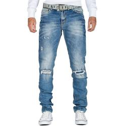 Cipo & Baxx Destroyed-Jeans Cipo & Baxx Herren Jeans Hose BA-CD428 slim fit mit Desttoyed-Effekten und verstärkten Knielöchern blau 33