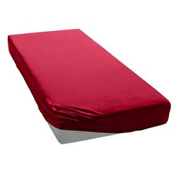 Spannbettlaken Uni Zwirn-Jersey, Elegante, aus hochwertigem Garn rot 140-160 cm x 200-220 cm